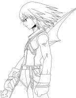 Riku Line art by frozen--phoenix