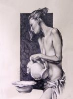 Nude Woman with Pitcher Drawn Figure Study by benke33