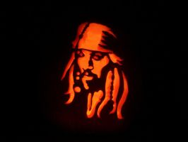 Captain Jack Sparrow Pumpkin by scottalynch