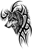 Tribal Wolf Tattoo Design by InstilledPhear