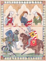 Illumination of Sir Marcus and his mount by Riana-art