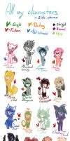 All My Characters+side charas by XxSweet-CoffeyxX