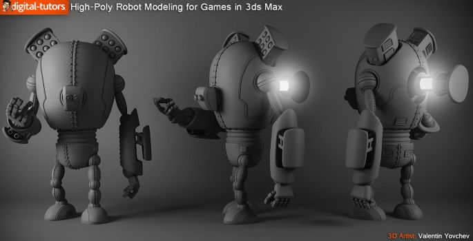 High Poly Robot Modeling for Games in 3ds Max by spybg