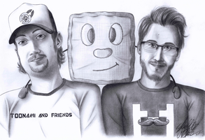 Don Hill, Tiny Box Tim and Markiplier by SteffieNeko