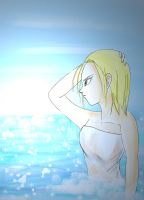 android 18 in the sea by lemonmarshmallow
