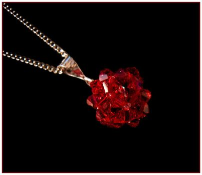 Red Crystal Ball Cluster Pendant by Sarahorsomeone