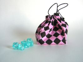 Pink and Black Dice Bag by mousch