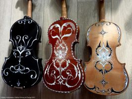 3 handpainted violins I by Hollow-Moon-Art