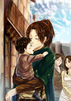 Zoe Hanji and young Eren Jaeger: The Secret Photo by Elly3981