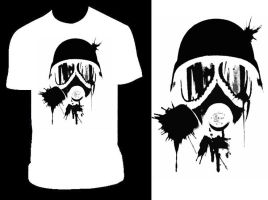 Gas Mask White T by PandaPirate69