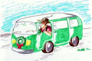 Travelin' in a Festive Kombi by Bleu-Ninja