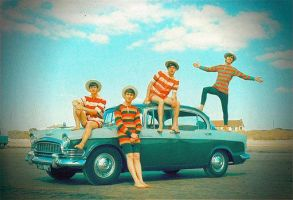 beatles and a car by elooly