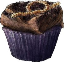 Worms in dirt cupcakes by torstan