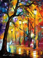 Night loneliness by Leonid Afremov by Leonidafremov