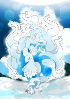 Alolan Ninetales, The white fox fairy by HarlequinWaffles