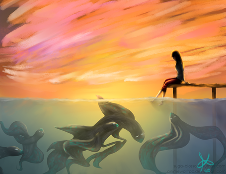 personal#3: fire in the sky(universe in the ocean) by AnimewolfRPC
