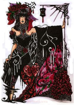 Gothic Red Rose by alcrestkiera