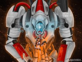 Art Collab w/QeNos: Mecha and girl in the space by JonyGalvez