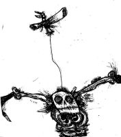 Skeleton Scarecrow attached to a bird by HEY-APATHY-COMICS