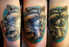 Tattoo - Racoon and Skull  by Xenija88