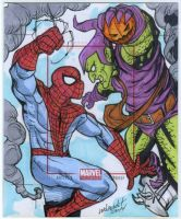 Spiderman vs Green Goblin artist proof commission by mdavidct