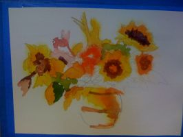 bright flowers in vase - more work in progress by muridaee