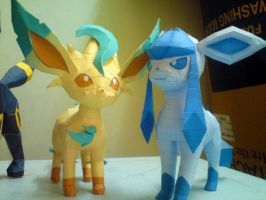 Leafeon and Glaceon by riolushinx