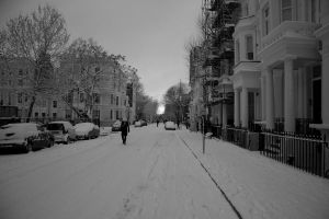 Snowy London Street by Xenon-8