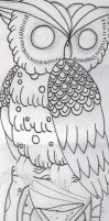 owl drawing by InkFink