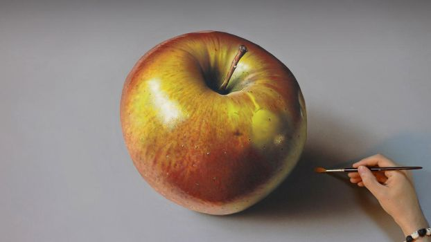 Apple PAINTING on canvas by Marcello Barenghi by marcellobarenghi