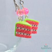 Watermelon Cake Slice Earrings by Bon-AppetEats