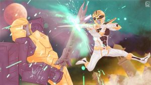 Commission: White Ranger vs. Lord Zarak by R-Legend
