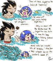 Gajeel and Juvia - Swimming lessons by Kasugaxoxo