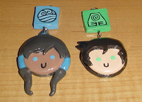 Korra and Bolin Charms by HideTheDecay