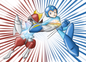 Megaman vs Bisharp by Xyrten