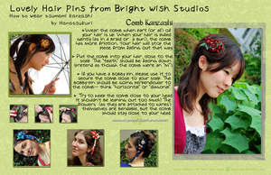 Wearing Kanzashi Comb Tutorial by hanatsukuri