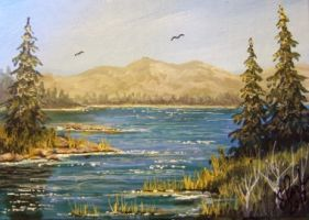 ACEO Mountain Lake #2 by annieoakley64