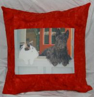 Bracken Photo Pillow Red by quiltoni