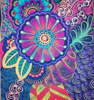 Neon Flora and Zentangles by aoiblue02