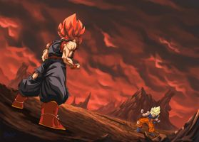 :Commission/ Goku Vs Evil Goku by WarlockMaster