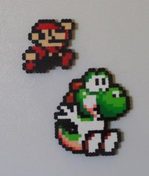 Mario and Yoshi Perler Magnets by PracticallyGeeky