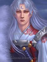 Sesshomaru _ portrait wip by marurenai