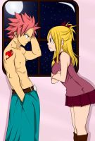 Natsu and Lucy - Get out of my room! by TifaneCleia