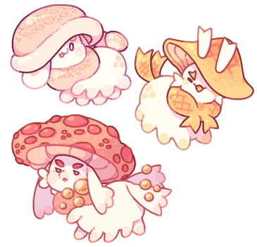 [May Pacapillar Advent] Little Mushroom Villagers! by blushbun