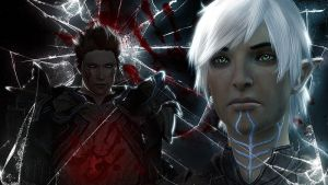 DA2 - Fenris X Hawke Wallpaper by Aaorin