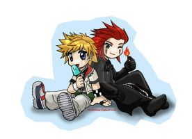 Roxas and Axel cutenessez by belafantasy