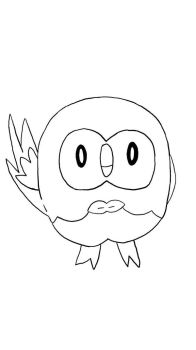 Line Art - Rowlet by jrodicon