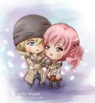 FFXIII - Chibi Snow and Serah by Maye1a