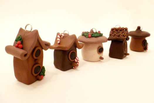 Miniature Bird House/Fairy House Ornaments by FlyingFrogCreations