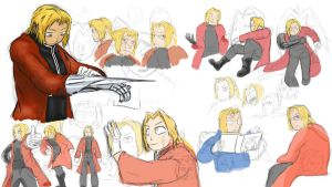 Edward Elric preliminary studies by Drawer888
